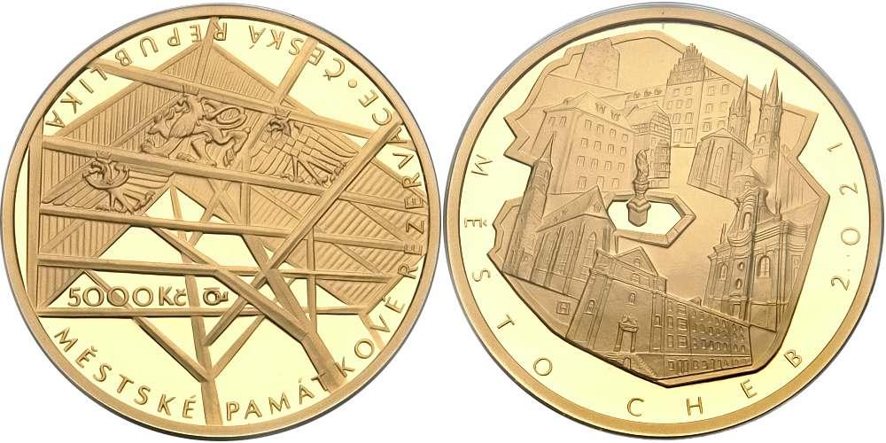 Zlatá pamětní mince  Město Cheb
