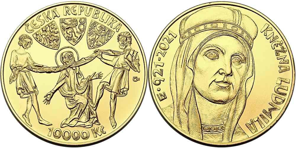 Zlatá mince k 1100. výročí úmrtí kněžny Ludmily