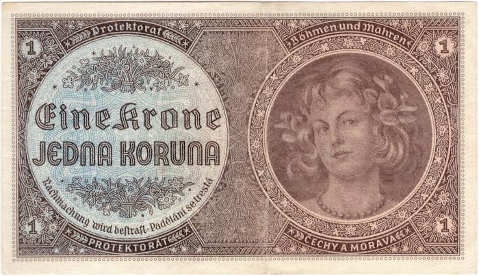 776eadaeb Bankovky | Protektorát 1939 - 1945, 1 Koruna b.l. | Numismatika ...