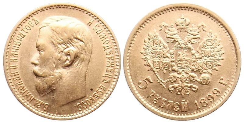 da385ec7b Rusko Mikuláš II. 1894 - 1917, 5 Rubl 1899 | Numismatika, výkup ...